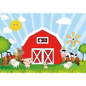 amazon com funnytree 7x5ft cartoon red farm animals party backdrop