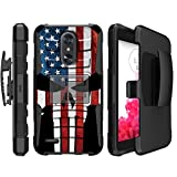 america phone case - MINITURTLE Case Compatible w/LG Aristo 2, Rebel 3, Tribute Dynasty, K8 Plus and LG Zone 4 (2018) [Protective Non Slip Belt-Clip Combo Cover with Push-in Stand] - America Flag Skull