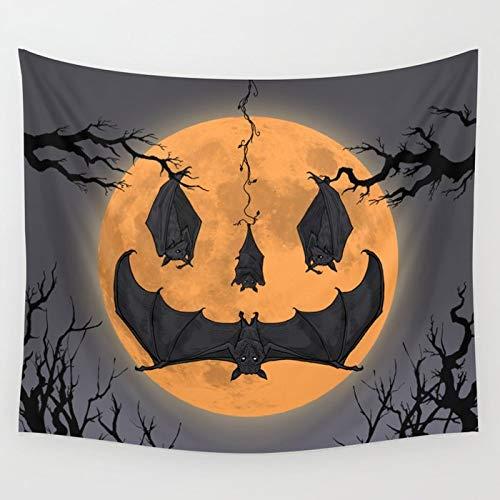 Halloween Decoration Art (Large Halloween Decoration Bat Tapestry Wall Hanging Art Pumpkin Pattern for Bedroom/Living Room/Office  3D Print Lighted Fabric Festival Decoration Art Halloween 2019 Bat Spooky Wall Hanging)