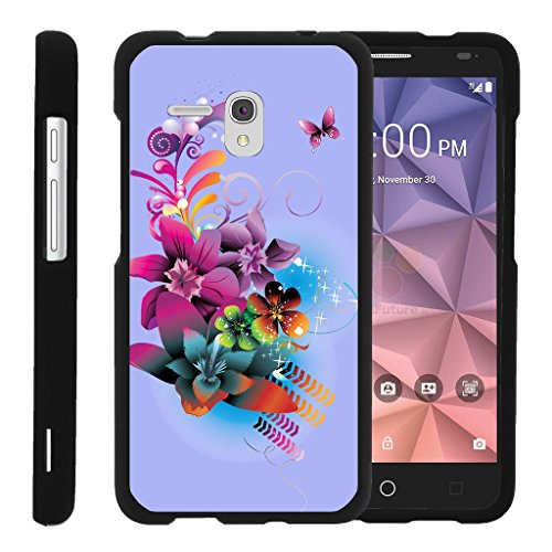 (MINITURTLE Case Compatible with [Alcatel One Touch Fierce XL Slim Cover] -[Snap Shell] 2 Piece Rubberized Hard Cover Plastic Snap On Case - Purple Flower Butterfly)