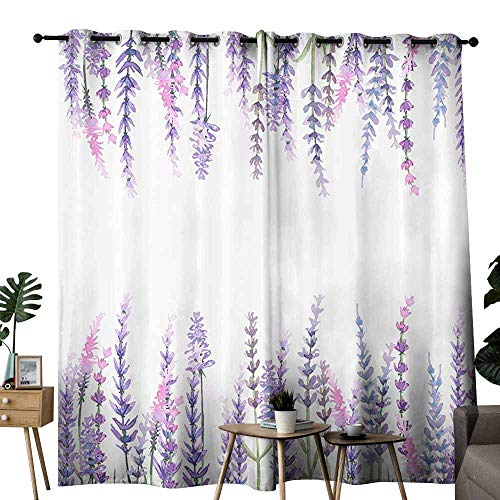 duommhome Purple Decor Collection Blackout Curtain Lavender Plants Aromatic Evergreen Shrub of The Mint Family Nature Oils Country Style Print Noise Reduction soundproof Curtain W72 xL72 Lilac ()