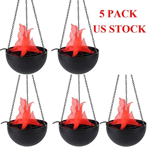 Electric LED Hanging Fake Flame Lamp Torch Light Fire Pot Bowl Halloween Prop Decor US Stock Pack of 5