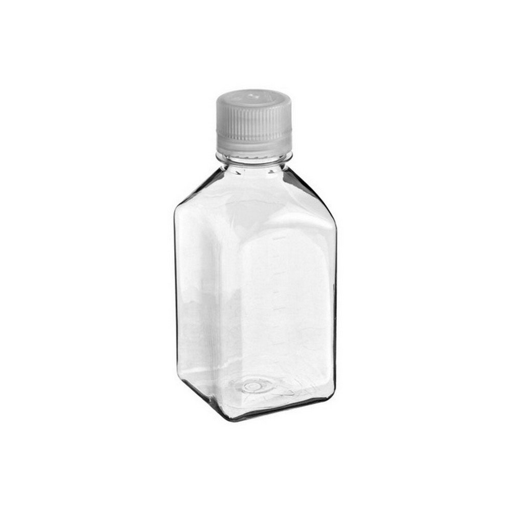 Nalgene Polyethylene Square Media Sterile Bottle with HDPE Closures, 125mL Capacity (Case of 96) by Nalgene