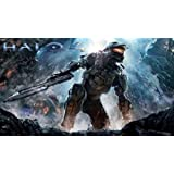 CAKEUSA Halo 4 Master Chief Fighting Birthday Cake Topper Edible Image 1/4 Sheet Frosting