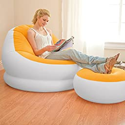 Intex Inflatable Colorful Cafe Chaise Lounge Chair Ottoman Orange