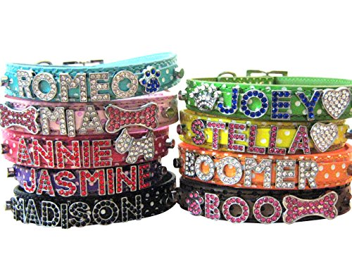 Bling Stuff For Fun TM - Polka Dot PU Leather Personalized Rhinestone Bling Dog Name Collar for Large, Medium, Small Dogs and Puppies (Orange, M: Neck Size 11.2