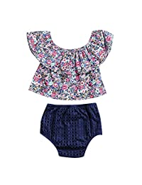 Baby Girls 2pcs Lotus Leaf Ruffle Collar Off Shoulder Floral Tops Shorts Outfit