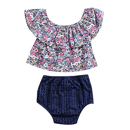23 Purple Leaves (Baby Girls 2pcs Lotus Leaf Ruffle Collar Off Shoulder Floral Tops Shorts Outfit (18-24 Months, Purple))