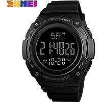 KKmoon SKMEI 1346 Men Analog Digital Watch Fashion Casual Sports Wristwatch 2 Time 5ATM Waterproof Leather Strap Backlight Multifunctional Watches