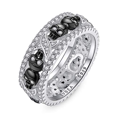 EVBEA Skull Rings for Women Sterling Silver Promise Engagement Wedding Black Thumb Bands with CZ Crystal