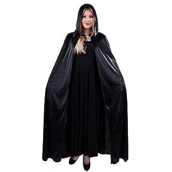 Men Women Velvet Cape Hood Halloween Robe Medieval Witch Cosplay Costume Cloak