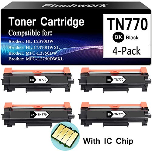 2 PK TN770 High yeild Toner Cartridge For Brother HLL2370DW 2370DWXL MFCL2750DW