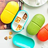 Yosoo 6 Compartment Portable Travel Pill Box Prescription & Medication Organizer Case Holder Vitamin Drug Reminder Planner for Pocket or Purse (1pcs) Colors Vary