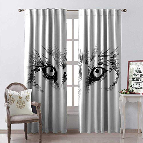 Hengshu Face Waterproof Window Curtain Majestic Wolf Eye Themed Composition Sketch Style Arrangement Woodland Fauna Decorative Curtains for Living Room W84 x L108 Pale Grey White