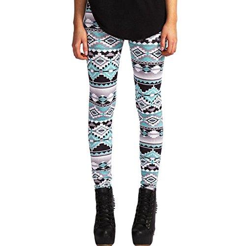MORCHAN ? Casual Femmes Lady Skinny imprim gomtrique Stretch Pantalon de Jegging Slim Leggings Jeans Combinaisons Pantalon Court Collants Knickerbockers Vert