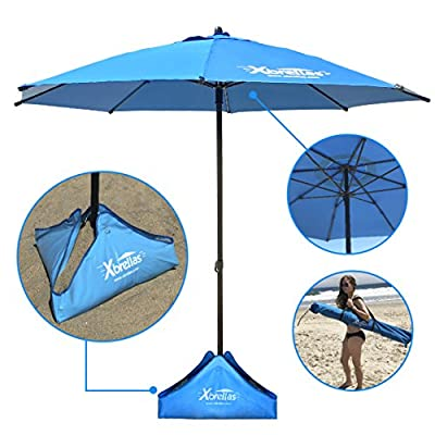 Xbrella – Best High Wind Resistant Large 7.5' Beach Umbrella. 6 Heavy Duty Sturdy Fiberglass Ribs, Marine Grade Canvas Fabric, Reinforced Vertical Pole, Sand Fill System - PATENT PENDING