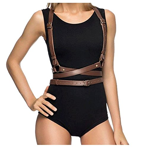 Club Brown Leather - L'vow Women's Punk Leather Adjustable Body Harness Straps Halloween Club Waist Belt (Light Brown)