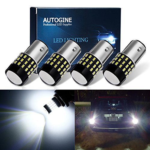 AUTOGINE 4 X 1000 Lumens Super Bright 9-30V 1157 2057 2357 7528 LED Bulbs 3014 54-EX Chipsets with Projector for Back Up Reverse Lights DRL Turn Signal Lights Tail Brake Lights, Xenon White