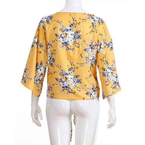 Flare Cou Femmes Nouveau Longues Casual Automne Jaune Shirt Manches zahuihuiM Mode Manches 2018 Blouse T Nouveau Printemps Tops Imprim V Arc AzPq7