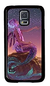 Case Shell for Samsung Galaxy S5 Covered with Purple Mermaid,Customized Black Hard Plastic Cover Skin for Samsung Galaxy S5 I9600 Kimberly Kurzendoerfer