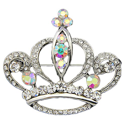 Danbihuabi Silver/gold Plated Imperial Crown Brooch for Lady (white gold plated) - Brooch Crown Pin Jewelry