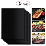 Anpro 5 Pcs Non-Stick High Temperature Reusable Barbecue Grill Mat Set 40 x 33 cm with BBQ Brush