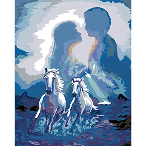 Yumian Dream-Hand-Painted Oil Paintings, Couples & Horses DIY Oil Painting By Numbers Acrylic Drawing On Canvas Framed Modern Abstract Wall Art Paintings for Wall Decorations Home Decorations