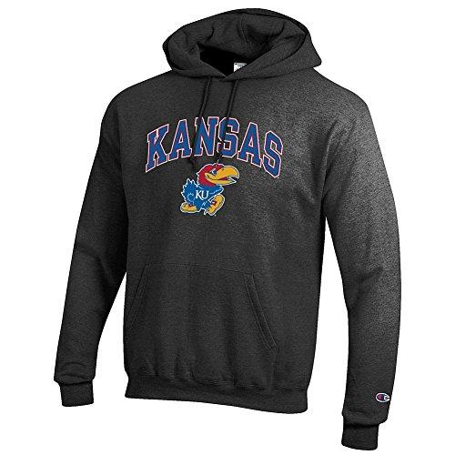 Elite Fan Shop Kansas Jayhawks Hooded Sweatshirt Varsity Charcoal - M