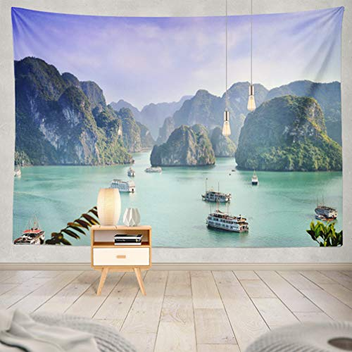 KJONG Nature-Landscape Decorative Tapestry,Sea World Natural Heritage Vietnam Asia Famous Landscape 60X80 Inches Wall Hanging Tapestry for Bedroom Living Room ()