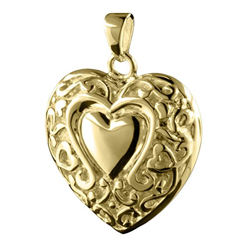 Perfect Memorials Loves Embrace Heart 14k Gold Vermeil Cremation Jewelry