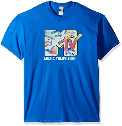 Nickelodeon Men's Retro Logo T-Shirt, Royal, X-Large