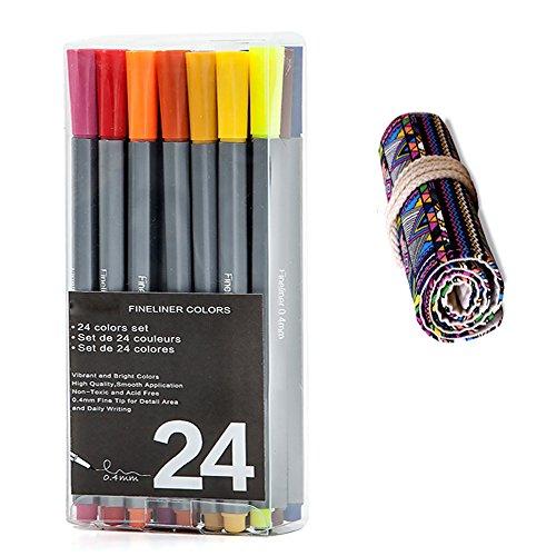 WOWENWO Fineliner Color Pen,Set of 24 Assorted Colors,0.4...