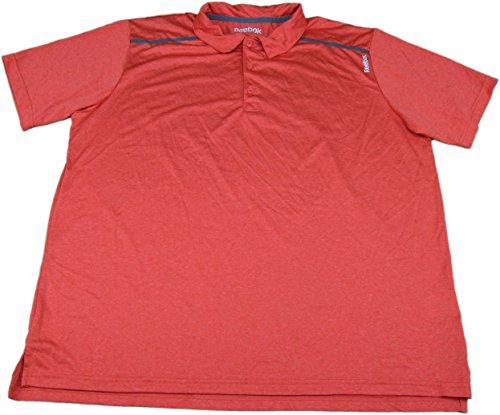 Reebok Men's L 3 Button Golf Polo Playdry Shirt, Red