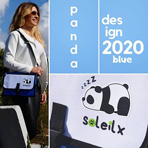 soleilx Fasciatoio Portatile Pieghevole [Panda Design] Borsa Fasciatoio da Viaggio Materassino Fasciatoio Pannolino Borsa Cambio Neonato Accessori Set Regali Neonati Kit Regalo Battesimo Bambino Bimba
