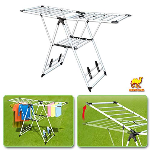 Strong Camel Folding Collapsible Clothes Drying Rack Adjusta