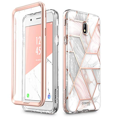 (i-Blason Case Designed for Galaxy J7 2018, Cosmo Series Built-in Screen Protector Full-Body Glitter Bling Bumper Protective Case for Galaxy J7 (SM-J737), Not fit J7 2017 (SM-J727) (Marble))