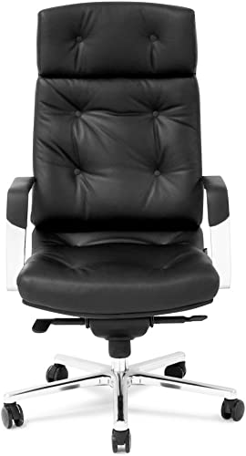 Perot Genuine Leather Aluminum Base High Back Executive Chair – Black