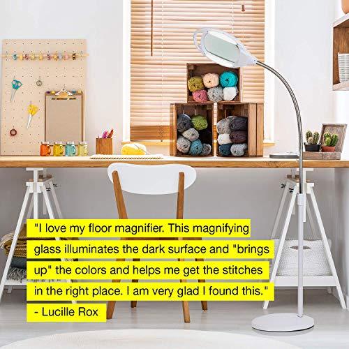 Brightech LightView Pro LED Magnifying Floor Lamp - Daylight Bright Full Spectrum Magnifier Lighted Glass Lens - Height Adjustable Gooseneck Standing Light - For Reading Task Craft Lighting - White by Brightech (Image #6)