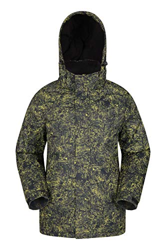 Mountain Warehouse Shadow Mens Printed Ski Jacket - Fleece Lined Winter Snow Jacket Bright Yellow XX-Large