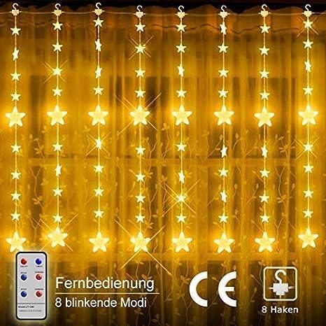 LED Lichterketten, 80 Sterne 144 LEDs Anschließbar Sternenvorhang mit 8 Modi Fernbedienung, Weihnachtsbeleuchtung für Fenster
