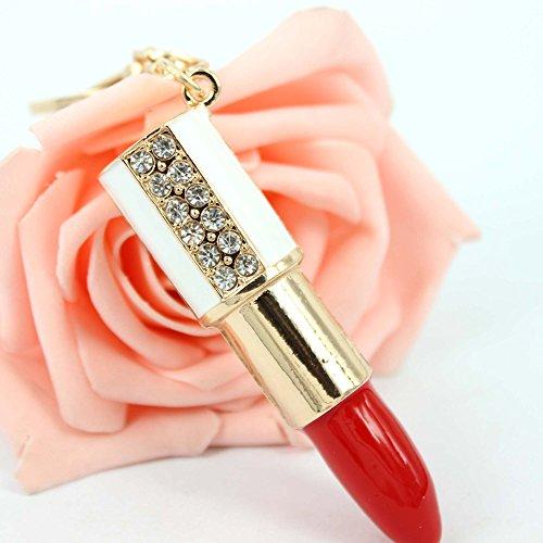 Lipstick Rouge Lovely Crystal Rhinestone Charm Pendant Purse Bag Key Chain Gift