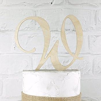 6 Inch Rustic Wedding Cake Topper Monogram Personalized in Any Letter A B C D E F G H I J K L M N O P Q R S T U V W X Y Z