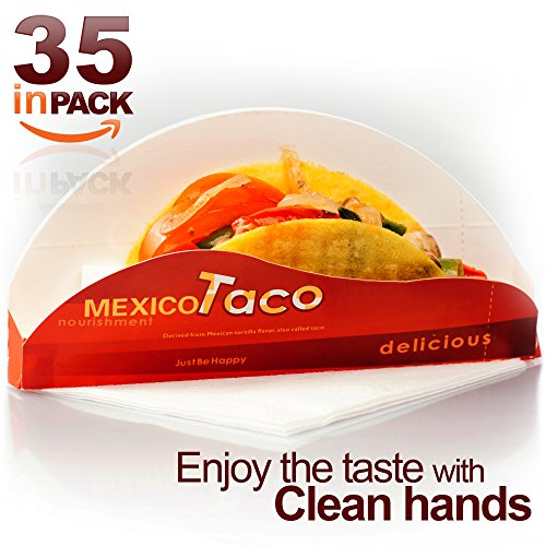 Elltera Disposable Taco Holder   35 In Pack   Bonus   Taco Recipes E Book   Best For Party And Picnic   Durable Paperboard Taco Rack Is Great For Holding Even Walking Mexican Tacos