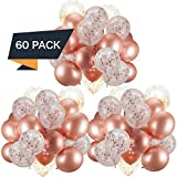 60 Pack Dandy Decor Rose Gold Balloons + Confetti Balloons w/Ribbon | Rosegold Balloons for Parties | Bridal & Baby Shower Balloon Decorations | Latex Party Balloons | Graduation, Engagement, Wedding: more info