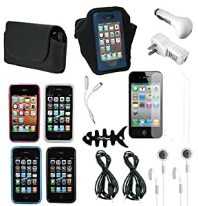 CrazyOn Digital 17 items Cases, Charger Screen Protector for AT & T Verizon Sprint Apple iPhone 4S Retail Package - Combo Pack - Retail Packaging - Black