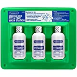 "PhysiciansCare 24-308 Wall Mountable Eye Wash Station with Triple 8 oz Bottle, 13.5"" L x 3"" W x 11.5"" H"