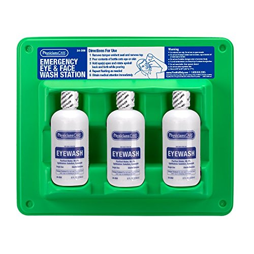 Emergency Eye Wash Wall Mount - PhysiciansCare by First Aid Only 24-308 Wall Mountable Eye Wash Station with Triple 8 oz Bottle, 13.5