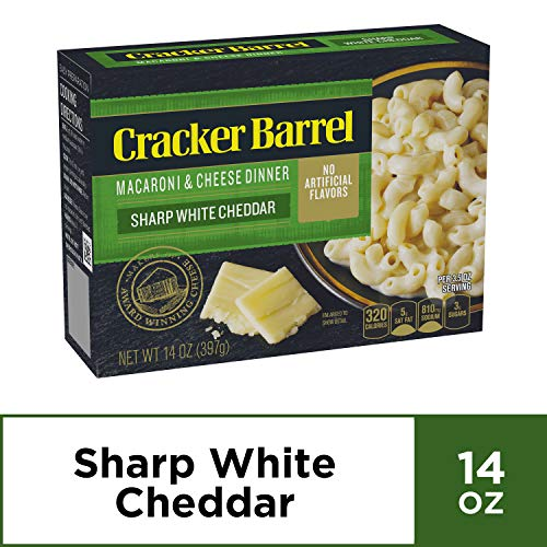 Cracker Barrel Sharp White Cheddar Macaroni and Cheese Dinner, 14 oz Box (Cracker Barrel Oven Baked Mac And Cheese)