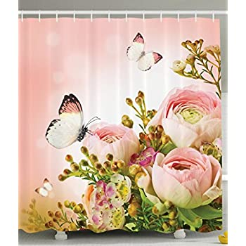 Floral Shower Curtain Pink Decor By Ambesonne, Roses And Flower Buds Leaves  In Bouquet With
