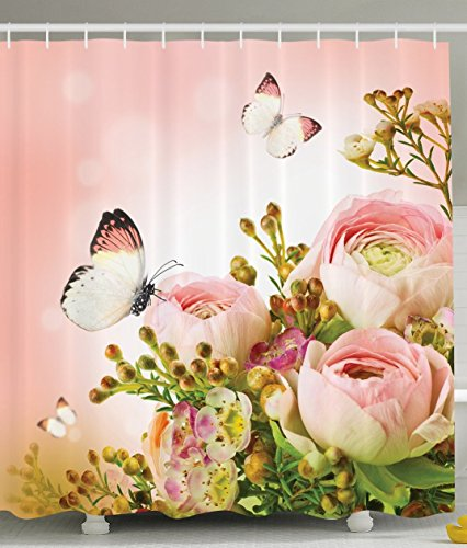 Ambesonne Floral Shower Curtain Pink Decor by, Roses and Flower Buds Leaves in Bouquet with Butterflies for Mothers Day Girls Print, Fabric Bathroom Set with Hooks, 69x70 Inches, Light Pink ()